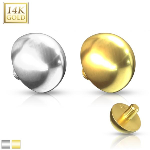 14 Karat Gold Flache Kugel Dermal Anchor Aufsatz