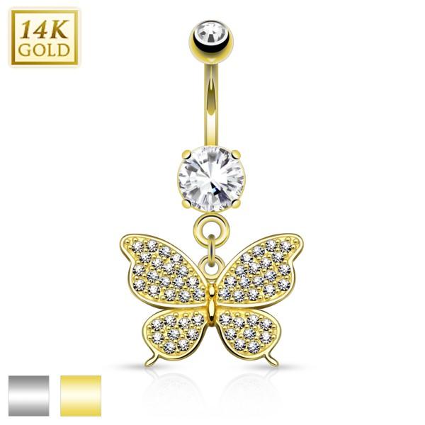 Schmetterling Bauchnabelpiercing 14 Karat Gold
