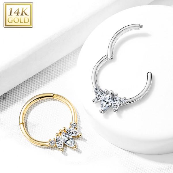 14 Karat Gold Marquise Kristall mit runden Kristallen Segmentring für Septum Daith