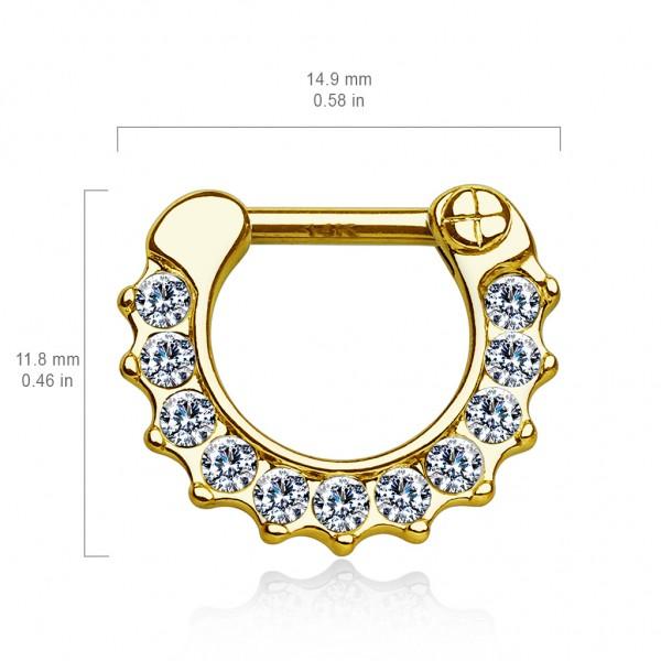 14 Karat Gold Septum Clicker mit Zirkonia Helix Ohrring Tragus Piercing Stecker