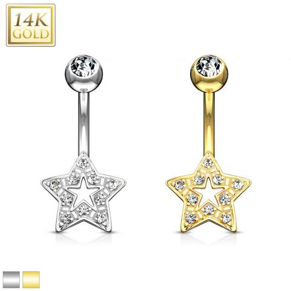 Stern Bauchnabelpiercing 14 Karat Echtgold Weißgold 585