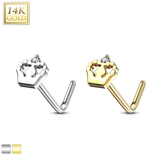 Krone Nasenpiercing verziert mit Kristall 585 Echtgold 14 Karat L-Form