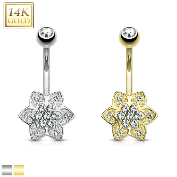 Kristall Blume Bauchnabelpiercing Echtgold 14 Karat