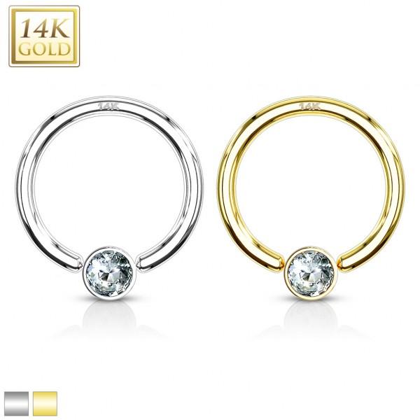 14 Karat Gelbgold CBR Ring mit Zirkonia