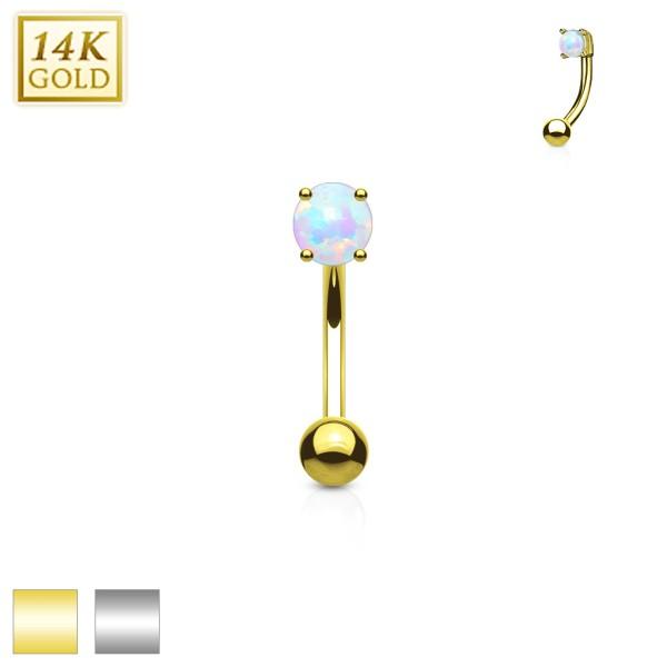 Opal Augenbrauen Hantelpiercing 14 Karat Weißgold