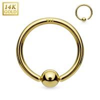 14 Karat Gelbgold Hoop Ring mit Kugel