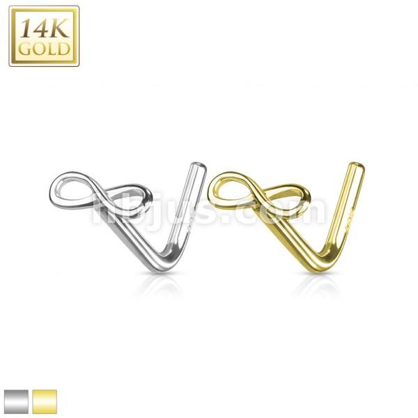 Unendlichkeit Infinity Nasenpiercing Stab L Form 14 Karat Gelbgold 585 Echtgold