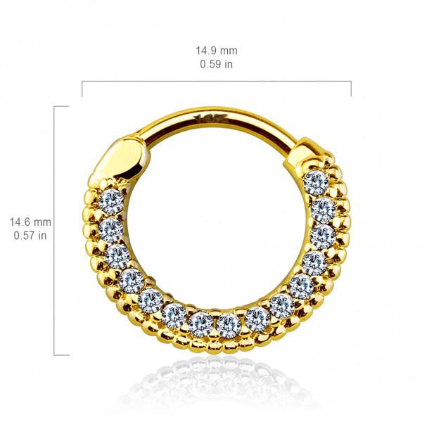 14 Karat Gold Septum Clicker mit Zirkonia Helix Ohrring Tragus Piercing