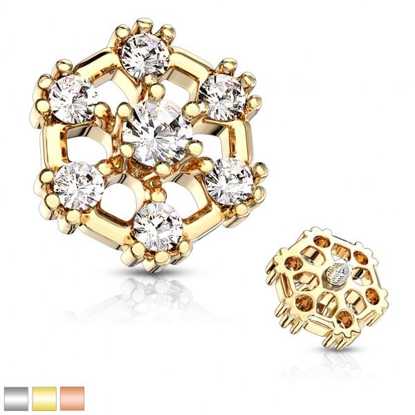 7 Kristalle Hexagonal Innengewinde Dermal Top