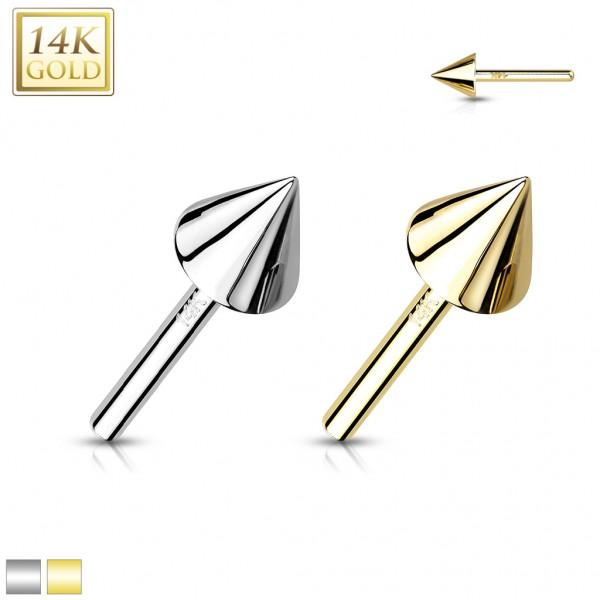 14 Karat Gold Stachel mit Push In Stab Gelgbold Weißgold