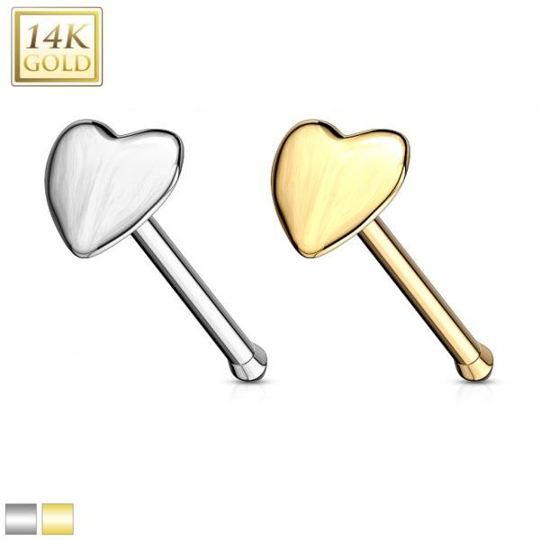 Herz Nasenpiercing 14 Karat Gelb Gold Nasenstecker
