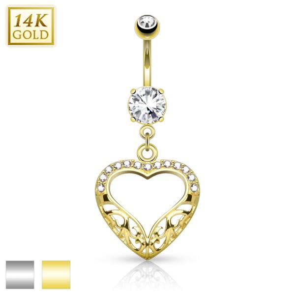 Herz Bauchnabelpiercing 14 Karat Gold