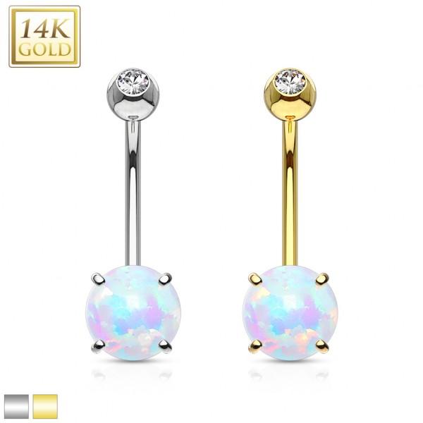 Weißgold Opal Bauchnabelpiercing 14 Karat Gold