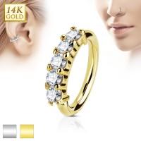 14 Karat Gold bigbarer Hoop Ring mit Zirkonia für Nase oder Ohr