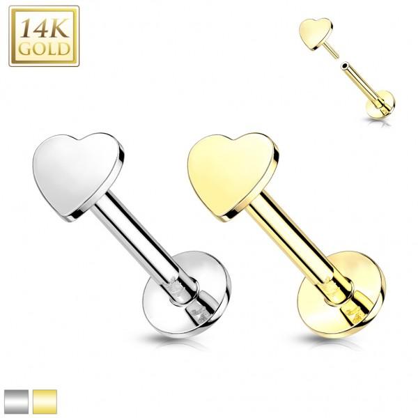 14 Karat Gold Labret mit Herz Threadless Push In Piercing ohne Gewinde Ohrpiercing Monroe