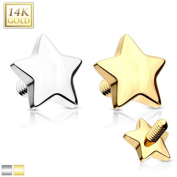 Stern Dermal Anchor Aufsatz 14 Karat Gold