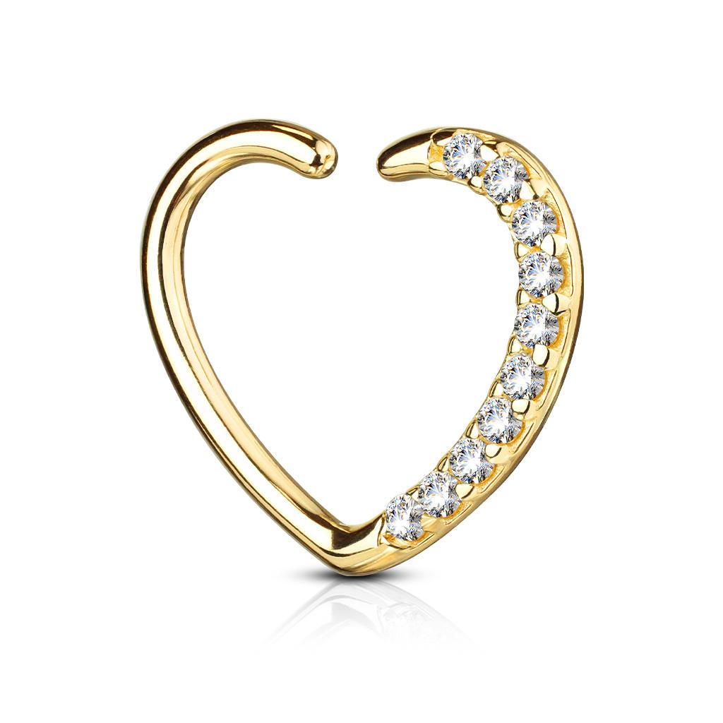 Herz Helix Piercing Daith Hoop linkes Ohr 14 Karat Weissgold 585 Echtgold Gelbgold