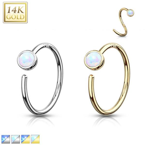 Opal Nasenpiercing Ring Hoop 14 Karat Gelbgold 585 Echtgold