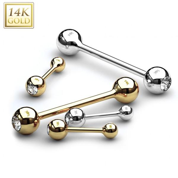 14 Karat Gold Barbell mit Zirkonia Ohrpiercing Helix Zungenpiercing