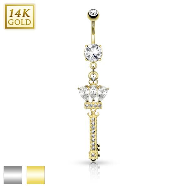 Krone Schlüssel Bauchnabelpiercing 14 Karat Gold