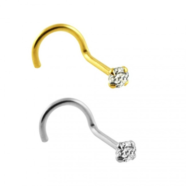 Nasenring Stab Gebogen Gold 14 Karat Zirkonia Nase Piercing Echtgold 585