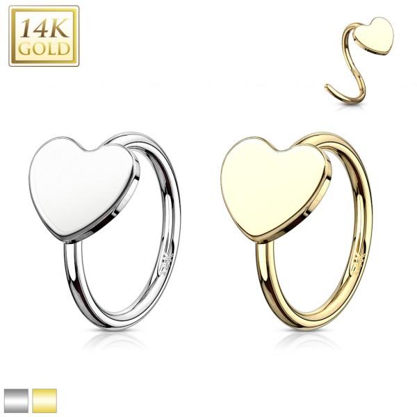 Herz Nasenpiercing Hoop Nasenring 14 Karat Echtgold 585 Gelbogold