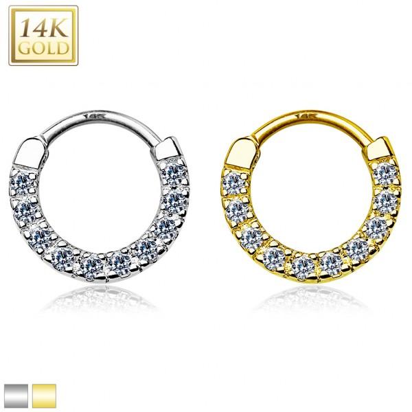 14 Karat Gold Septum Clicker mit Zirkonias Helix Daith Ohrring Tragus Piercing