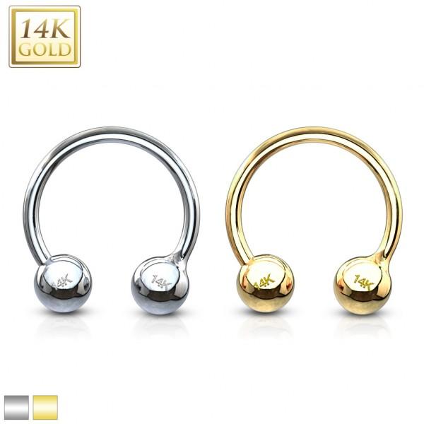 Kugel Hufeisen Piercing 14 Karat Gold