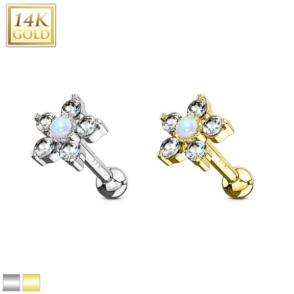 Cartilage Tragus Hantel Barbell Piercing 5 Kristalle Blume 14 Karat Echtgold 585