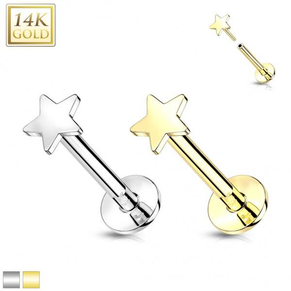 14 Karat Gold Labret mit Stern Threadless Push In Piercing ohne Gewinde Ohrpiercing Monroe