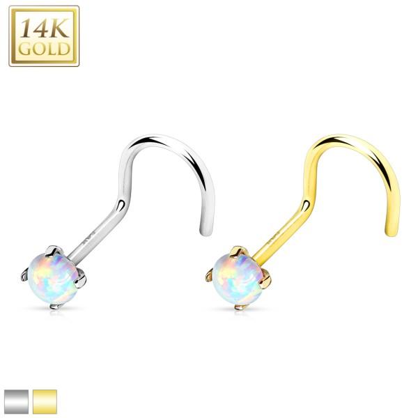 Opal Nasenpiercing Echtgold Kugel gebogen