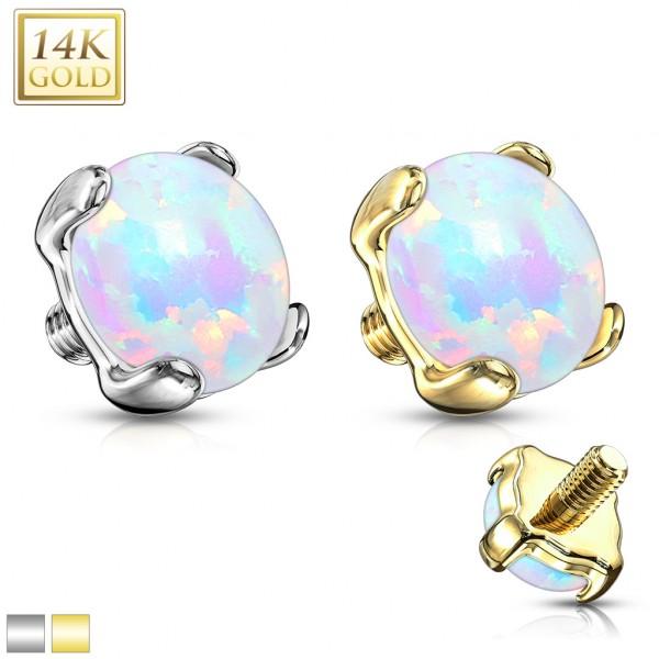 14 Karat Gold Dermal Anchor Top Opal