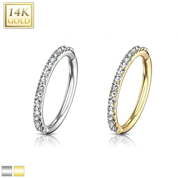 Segmentring 585 Gold 14 Karat Septum Clicker mit Scharnier verziert mit Kristallen Helix Tragus Lipp