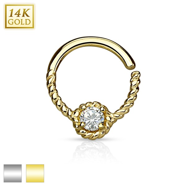 5 Zirkonias biegbarer Hoop Ring Helix Ohrring Tragus Piercing 14 Karat Gold