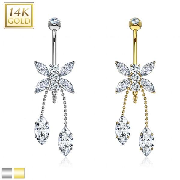 14 Karat Gold Libelle hängende Zirkonia mit Marquise Schliff Bauchnabelpiercing