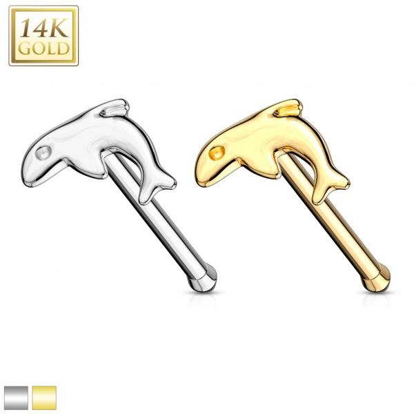 Delfin Nasenpiercing 14 Karat Gelb Gold