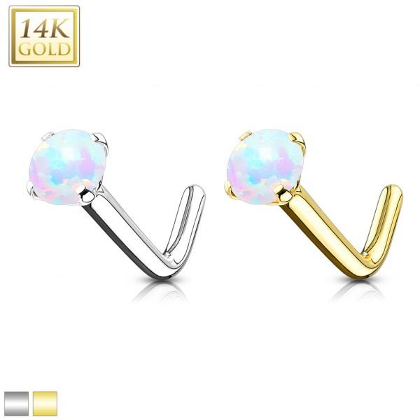 Opal Nasenpiercing Stab L Form 14 Karat Gelbgold 585 Echtgold