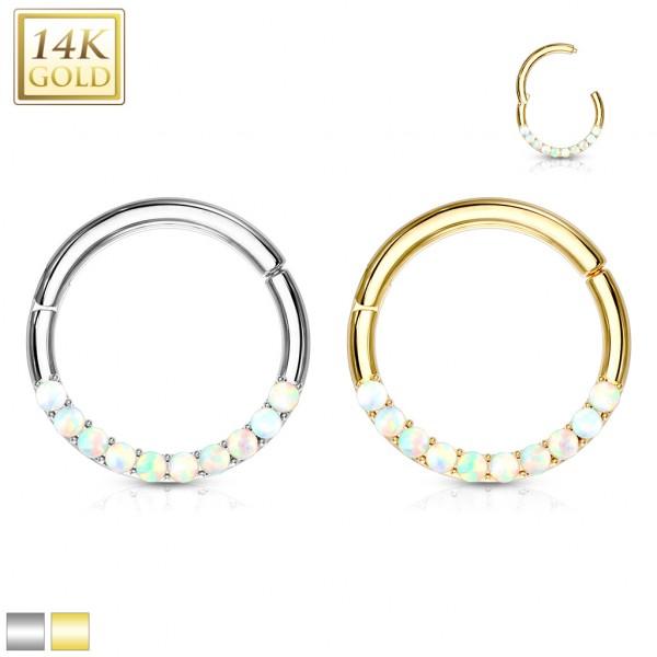 14 Karat Gold Segmentring mit Opalsteinen für Septum Daith