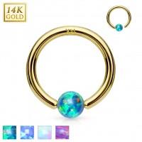 14 Karat Gelbgold Hoop Ring mit Opal