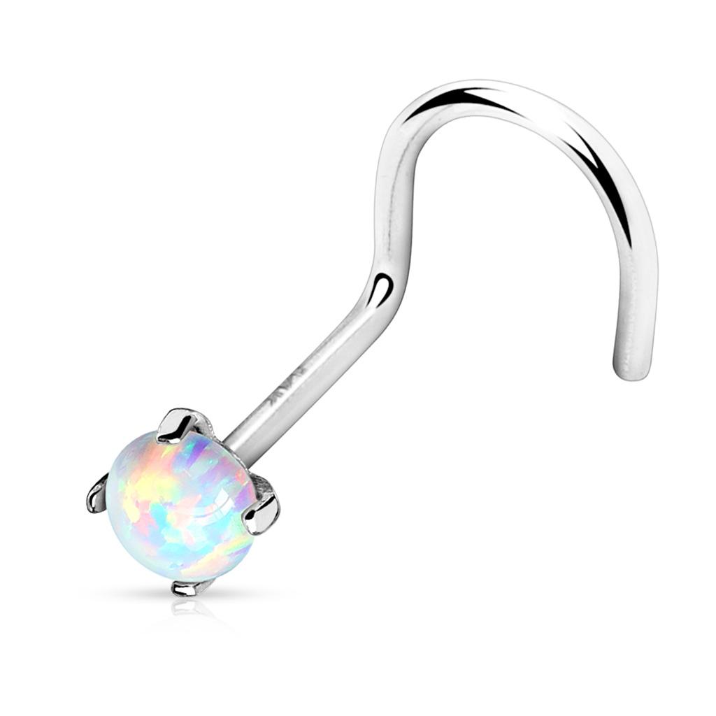 Opal 14 Karat Gold Nasenpiercing Kugel gebogen