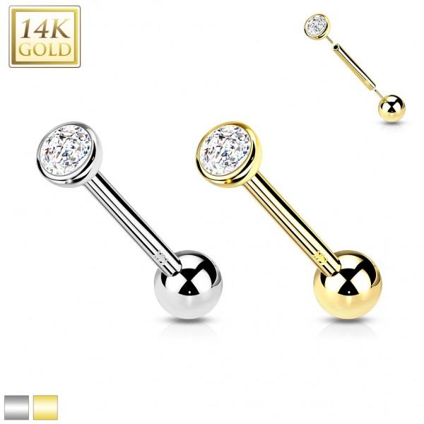 14 Karat Gold Barbell Piercing ohne Gewinde mit Zirkonia in Kesselfassung Threadless Push In Stange