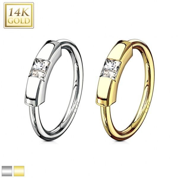 14 Karat Gelbgold CBR Ring Segment Zirkonia Prinzess Cut