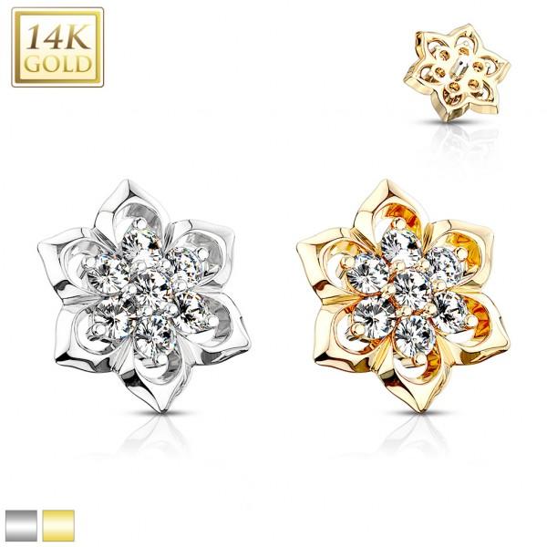 14 Karat Echtgold Blume mit 7 Zirkonia Dermal Anchor