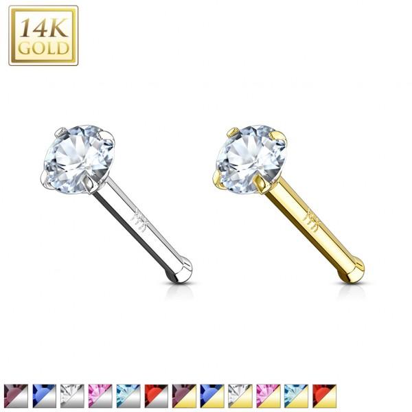 14 Karat Echtgold 585 Nasenstecker Kristall verschiedene Farben