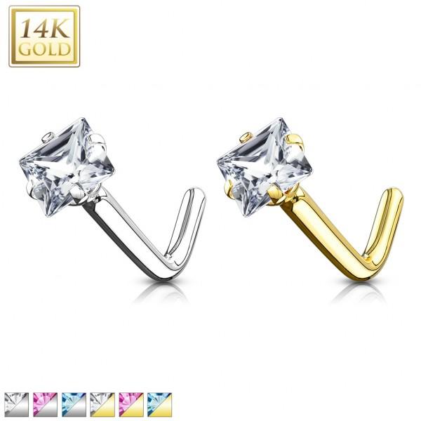 Viereck Zirkonia Nasenpiercing Stab L Form 14 Karat 585 Echtgold