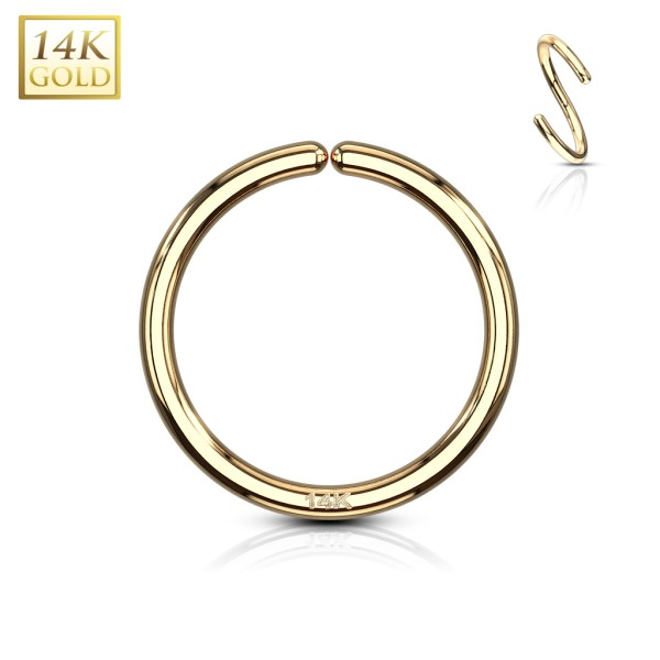 Segmentring Septum Piercing Nase Lippen Ohr Universal felxibel Ring 14 Karat 585 Echtgold Gelbgold