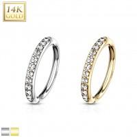 14 Karat Gold Biegbarer runder Ring Zirkonia Pave Fassung für Ohrpiercing Helix Conch Augenbrauen Na