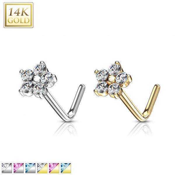 Blume mit Kristallen Nasenpiercing 585 Echtgold 14 Karat L-Form