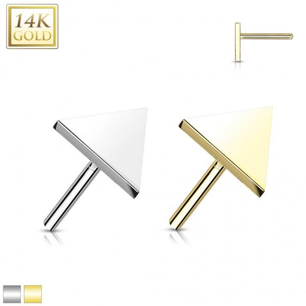 14 Karat Gold Dreieck flach mit Push-In Stab Gelgbold Weißgold